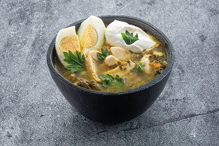 Суп щавелевый с куриной грудкой двойная порция