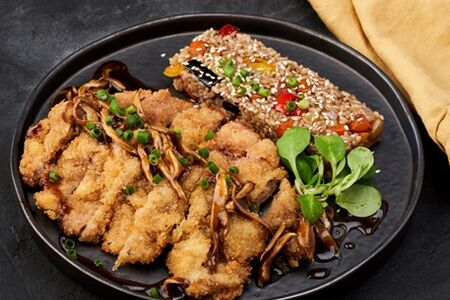 Катсудон с терияки и овощным рисом