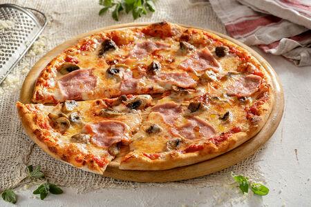 Пицца Ветчина и грибы 28 см, на тонком тесте