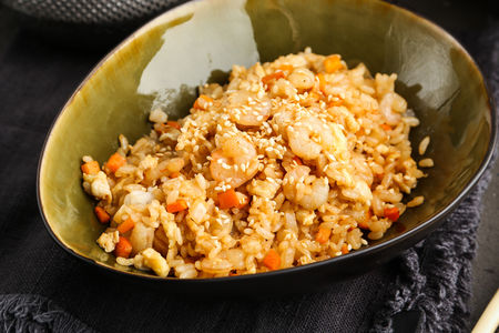Рис с коктейльными креветками