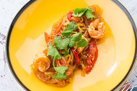 Лапша рисовая с креветками