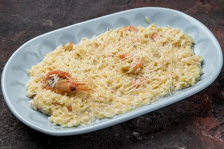 Паста Орзо в сливочном соусе с креветками
