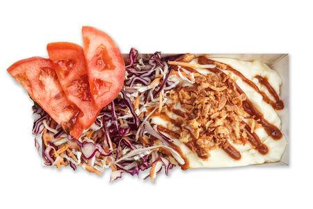 Бокстер Грин с салатом коул слоу и картофельным пюре
