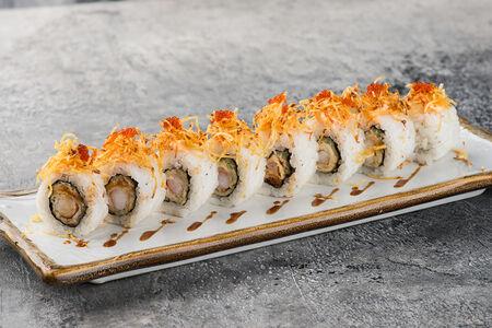 Ролл Спайси с лососем и картофелем пай
