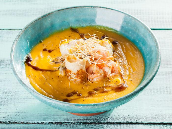 Суп-крем из тыквы с крабом