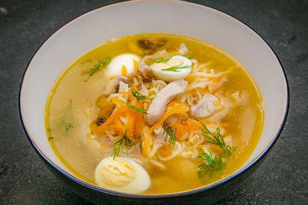 Суп куриный с домашней лапшой и грибами