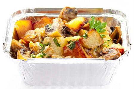 Рагу с курочкой и грибами в сливочном соусе