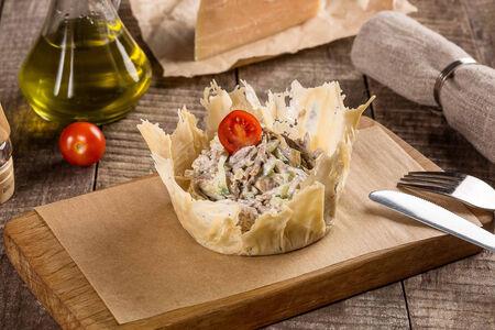 Теплый салат из языка