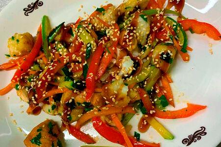Рыбный микс с овощами и картофельным пюре