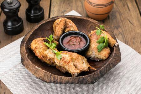 Жаренный цыпленок с  ткемали