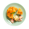 Фото к позиции меню Запеканка творожная с грушей и персиком