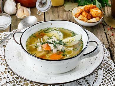 Домашний суп лапша с курицей
