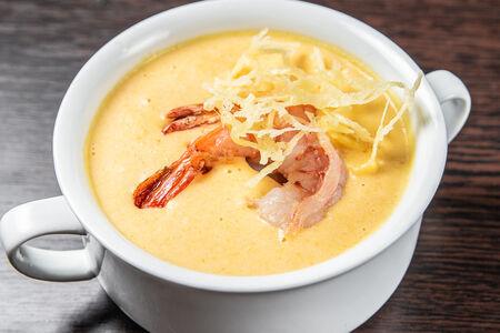 Сырный суп с креветкой