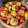 Фото к позиции меню Биточки из индейки с овощами