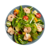 Фото к позиции меню Салат-боул с тигровыми креветками и тропическими фруктами