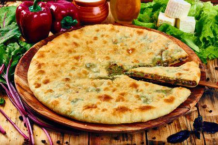 Осетинский пирог с сыром и свекольными листьями