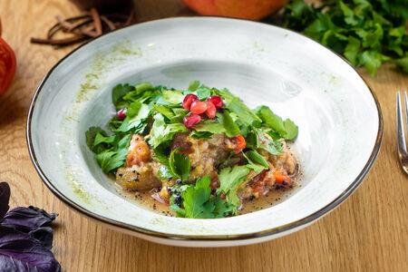 Салат с печеными баклажанами и перцем