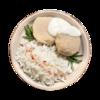 Фото к позиции меню Биточек из индейки запеченный с рисом