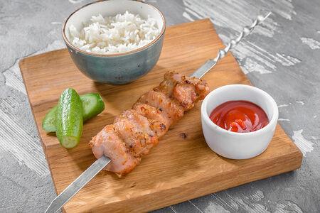 Куриный шашлычок детский с отварным рисом