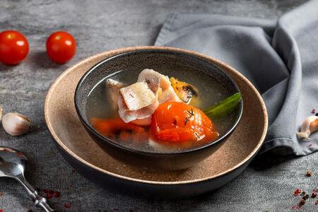 Суп с северной рыбой и печеными овощами
