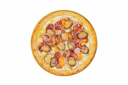 Пицца с беконом на белом соусе