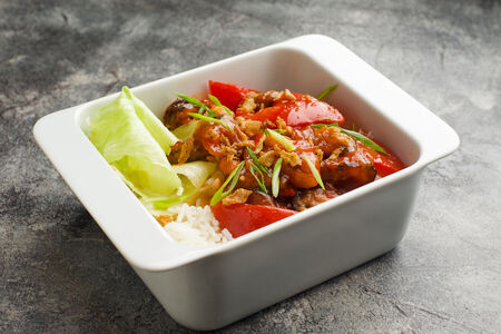 Рис с мидиями в соусе барбекю