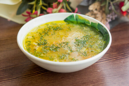 Суп куриный с домашней лапшой