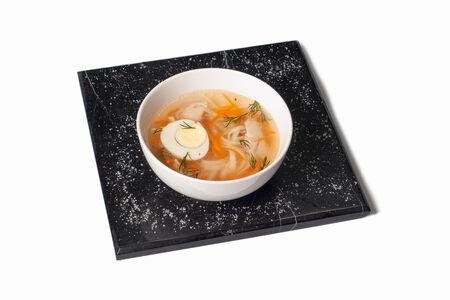 Суп Бульон куриный с лапшой и яйцом