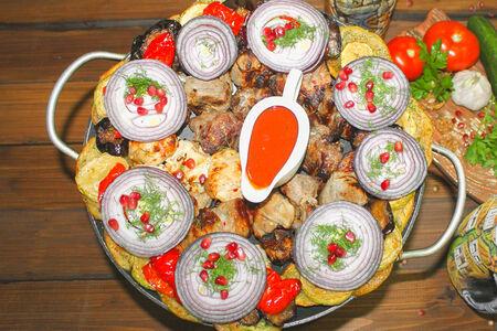 Шашлык ассорти от шеф-повара с запечёнными овощами