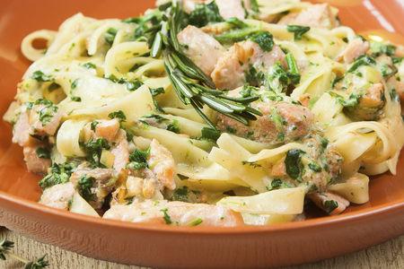 Паста Тальятелле с лососем