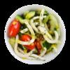 Фото к позиции меню Салат Капри с кальмаром и овощами