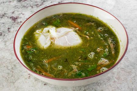 Суп Щавелевый с говяжьим языком и яйцом пашот