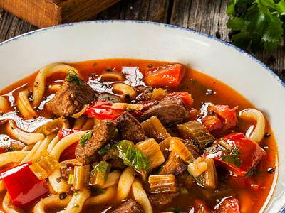 Суп Лагман из баранины с домашней лапшой