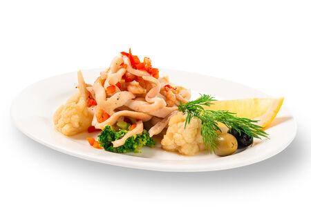 Тёплый салат из морепродуктов