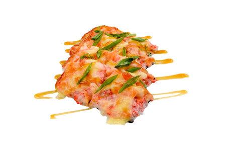 Суши пицца с креветками и кальмаром