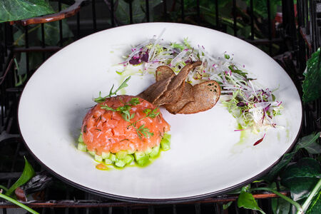 Тартар из лосося и маринованного огурца