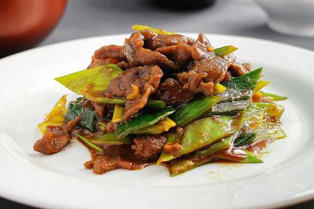 Баранина жареная, с овощами по-китайски