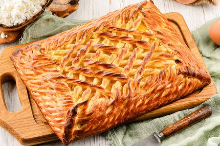 Пирог с творогом и персиком