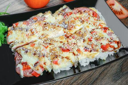 Суши-пицца с ветчиной