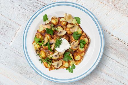 Картофельная вафля с грибами