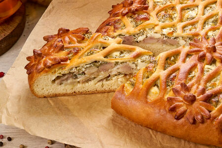 Пирог Куриный с брынзой