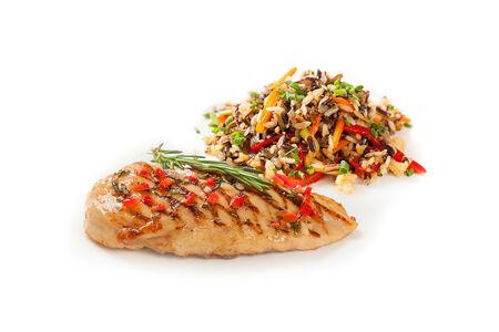 Куриная грудка на гриле с диким рисом