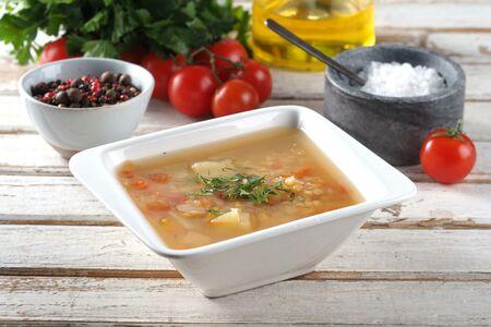 Суп картофельный с чечевицей