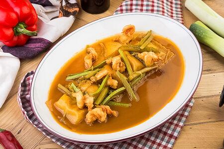 Равиоли с сибасом и креветками
