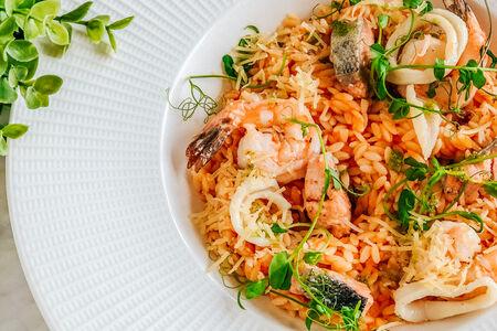 Паста рисо с морепродуктами