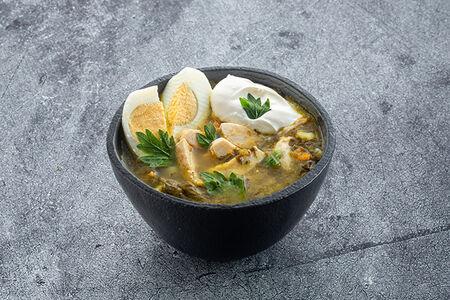 Суп щавелевый с куриной грудкой