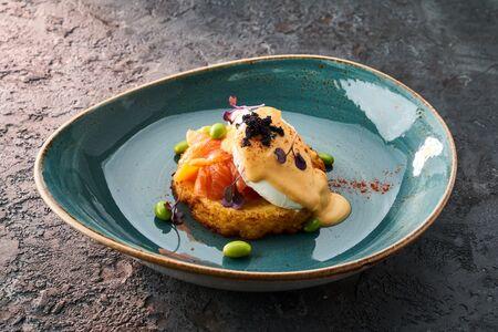 Картофельный драник с лососем