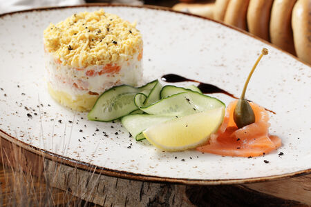 Салат Мимоза из филе лосося