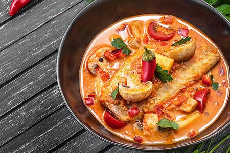 Турецкий пряный суп с филе морского окуня