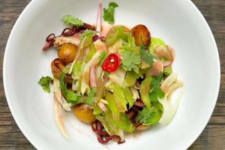 Теплый салат из кальмаров с картофелем, фенхелем и сельдереем